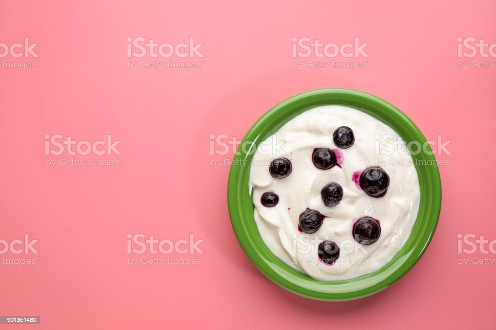 bowl of Greek yogurt with vanilla and blueberries stock photo