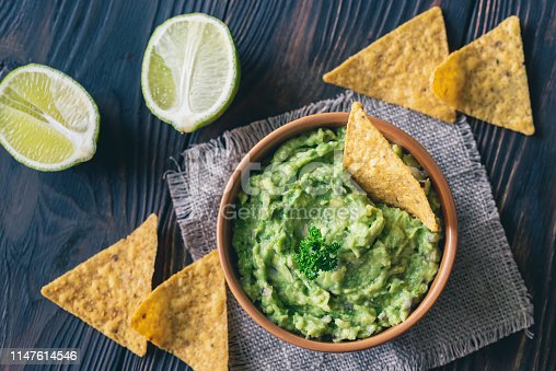 istock Bowl of guacamole with tortilla chips 1147614546