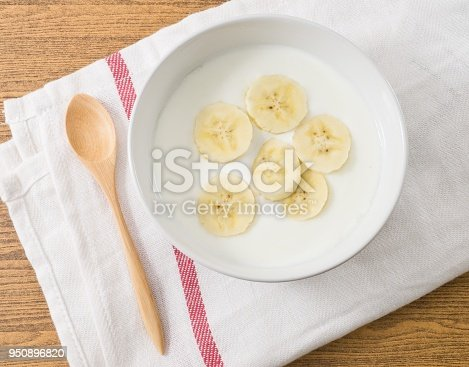 Bowl of Homemade Yoghurt Topping with Organic Banana, Nutritionally Rich in Protein, Calcium, Riboflavin, Vitamin B6 and Vitamin B12.