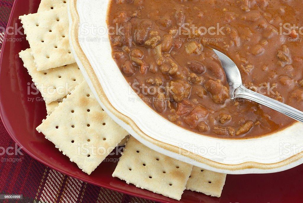 Bowl of Hot Homemade Chili royalty-free stock photo