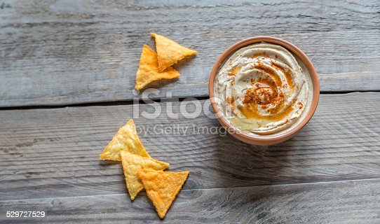Bowl of hummus with corn chips