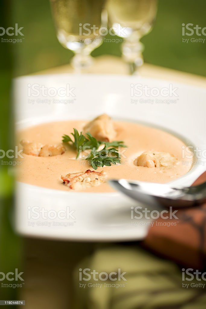 Bowl of lobster bisque stock photo