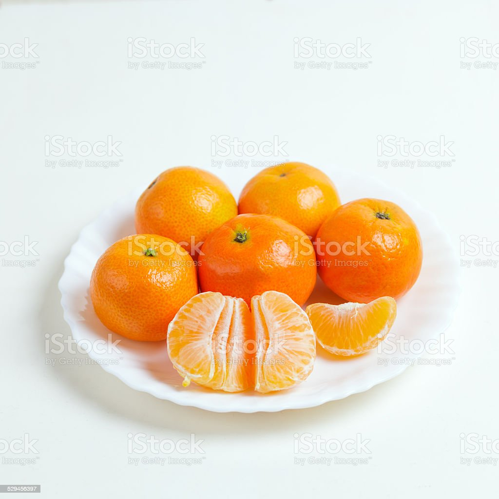Bowl of Mandarin Oranges stock photo