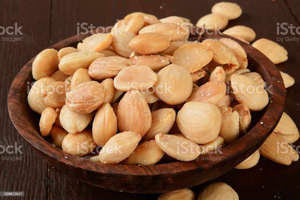 Bowl of marcna almonds stock photo