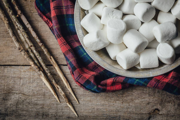 Bowl of marshmallows and skewers with lumberjack shirt stock photo