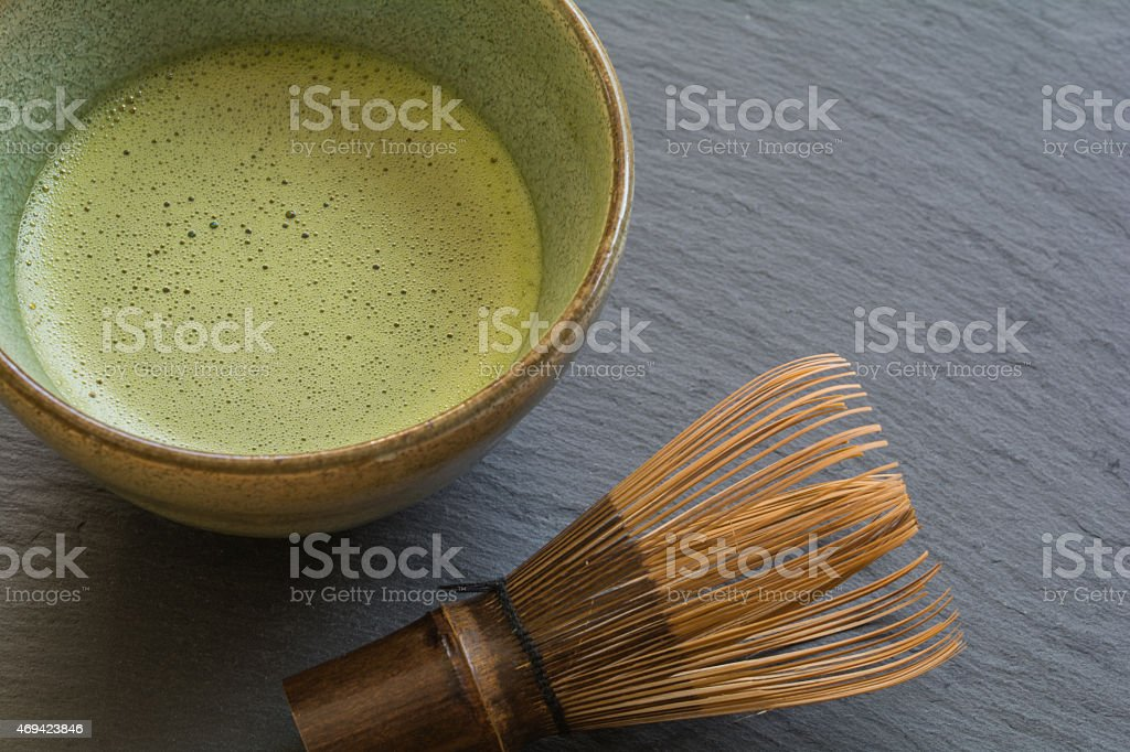 Bowl of Matcha with a Chasen stock photo