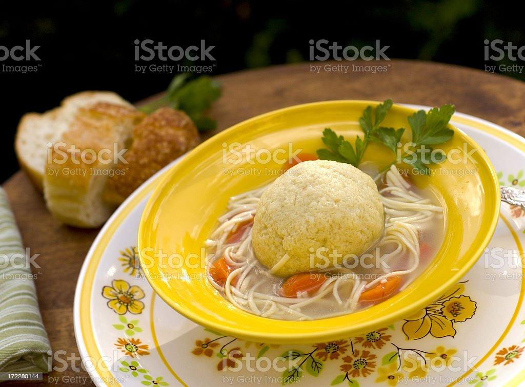 Bowl of Matzo Ball Soup royalty-free stock photo