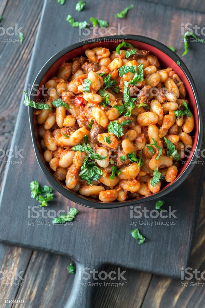 Bowl of mexican pinto beans stock photo