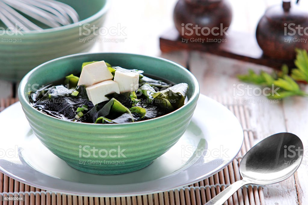 Bowl of miso soup stock photo