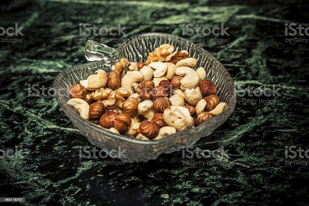 Bowl of mixed nuts royalty-free stock photo