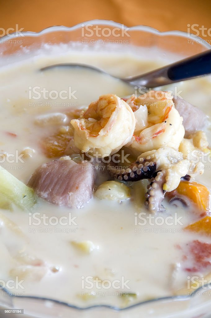 bowl of mixed seafood soup nicaragua royalty-free stock photo