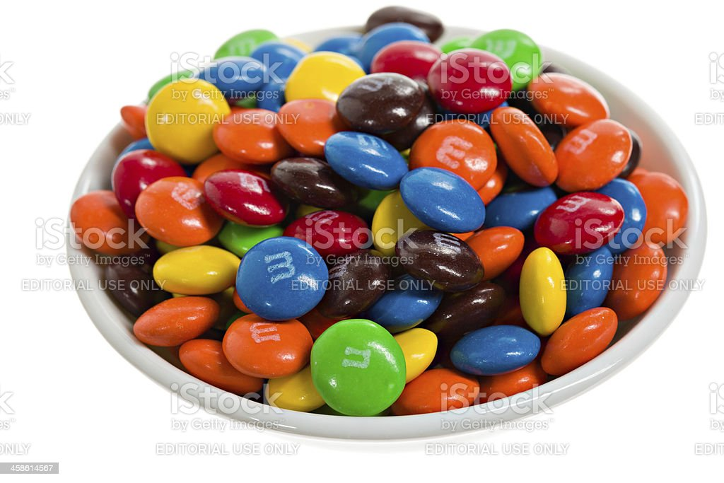 Bowl Of m&m's. stock photo
