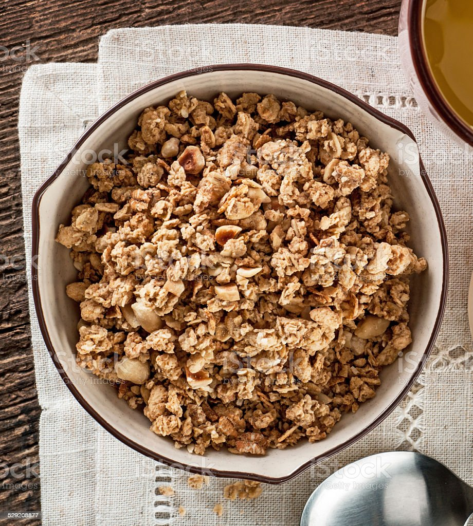 bowl of muesli stock photo