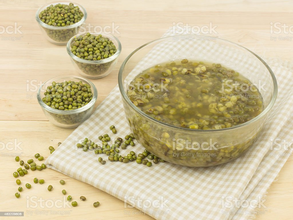 Bowl of mung beans dessert stock photo