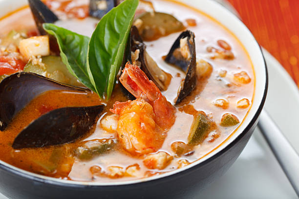 Bowl of Mussel, Shrimp and Scallop Soup
