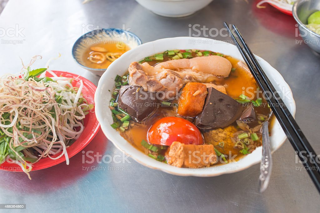 Bowl of noodles soup in some Asia countries as Vietnam stock photo
