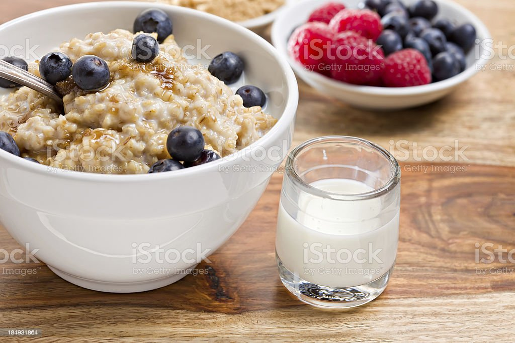 Bowl Of Oatmeal and Fixings stock photo
