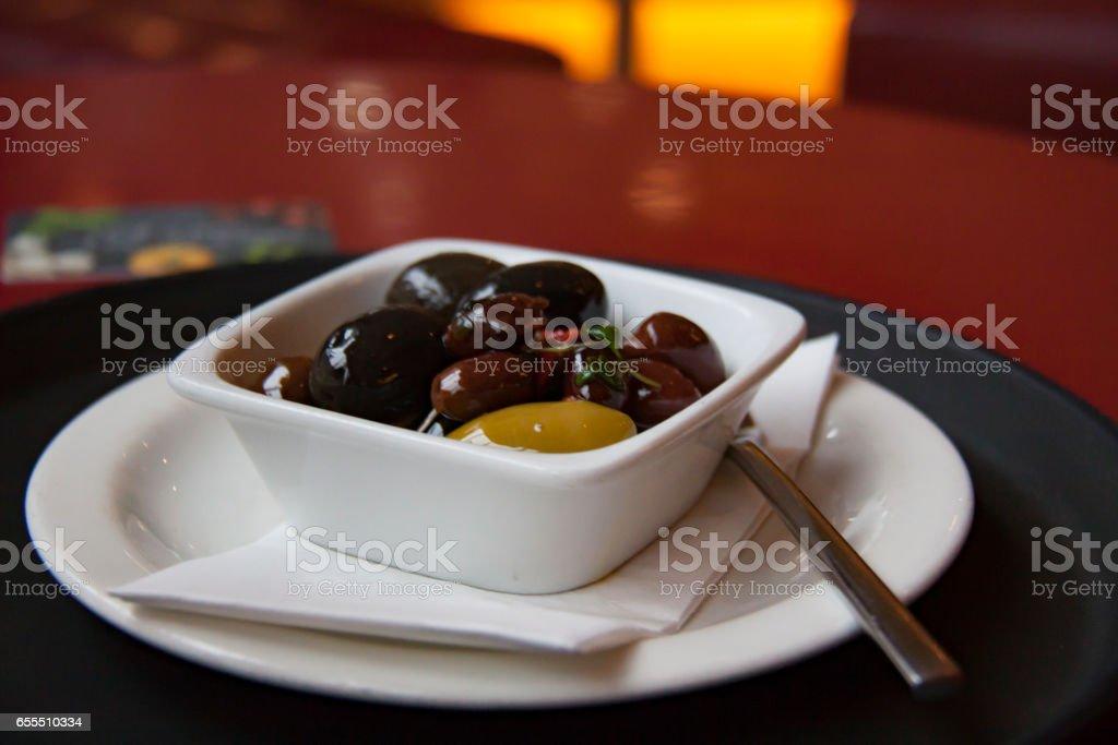 Bowl of olives stock photo