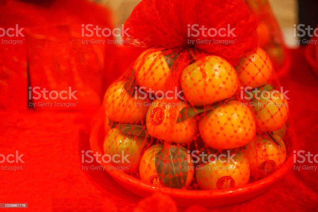 Schale Von Orangen Mit Roten Aufklebern In Chinesische
