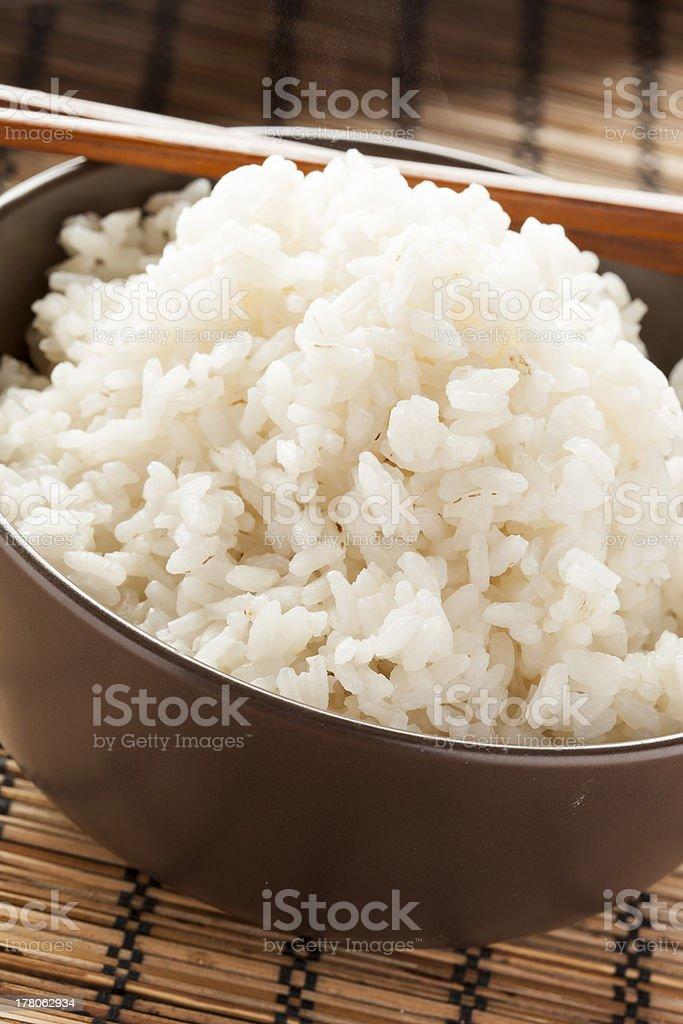 Bowl of Organic White Rice stock photo