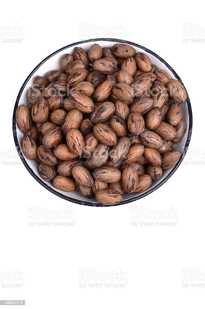 Bowl of pecan nuts from above with clipping path stock photo