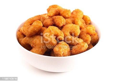 Bowl of Popcorn Shrimp Isolated on a White Background