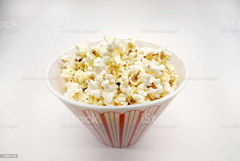 Bowl of popcorn taken with a wide angle view royalty-free stock photo