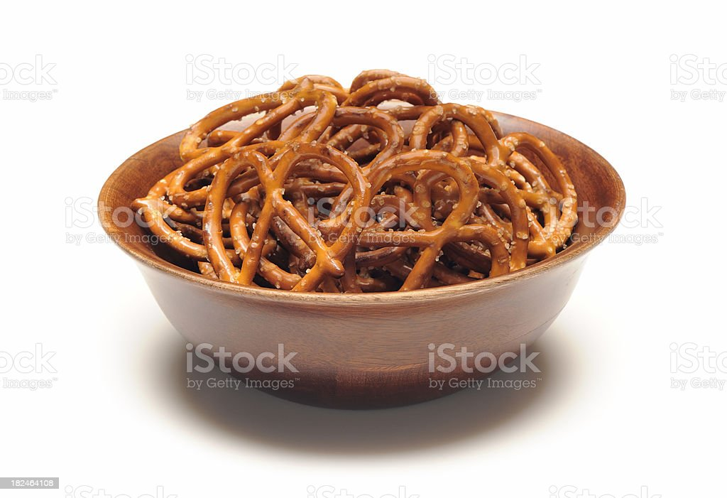 Bowl of pretzels stock photo