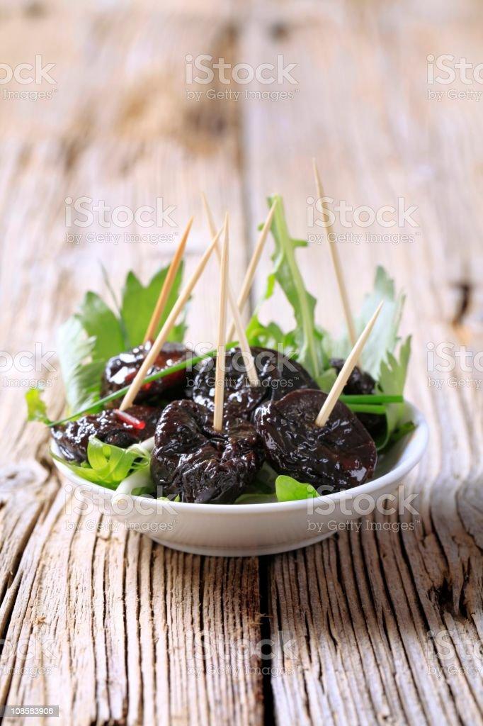 Bowl of prunes royalty-free stock photo