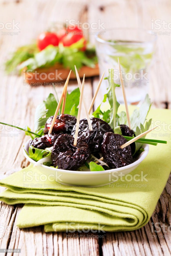 Bowl of prunes royalty-free stock photo