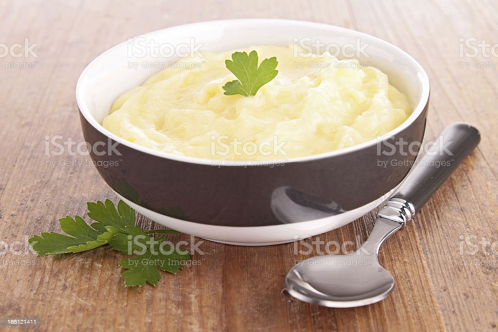 bowl of puree stock photo