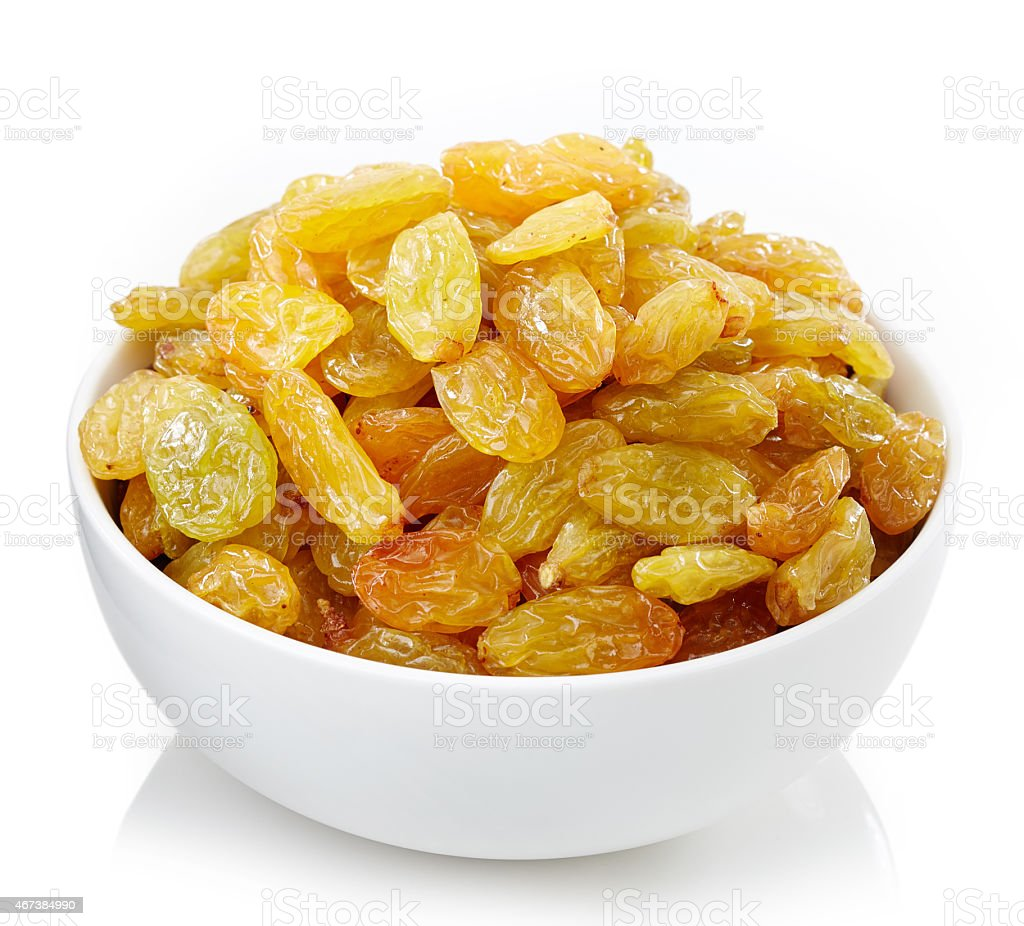 Bowl of raisins stock photo