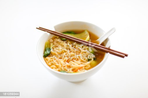 Ramen with bok choy vegetables and vegetable broth.