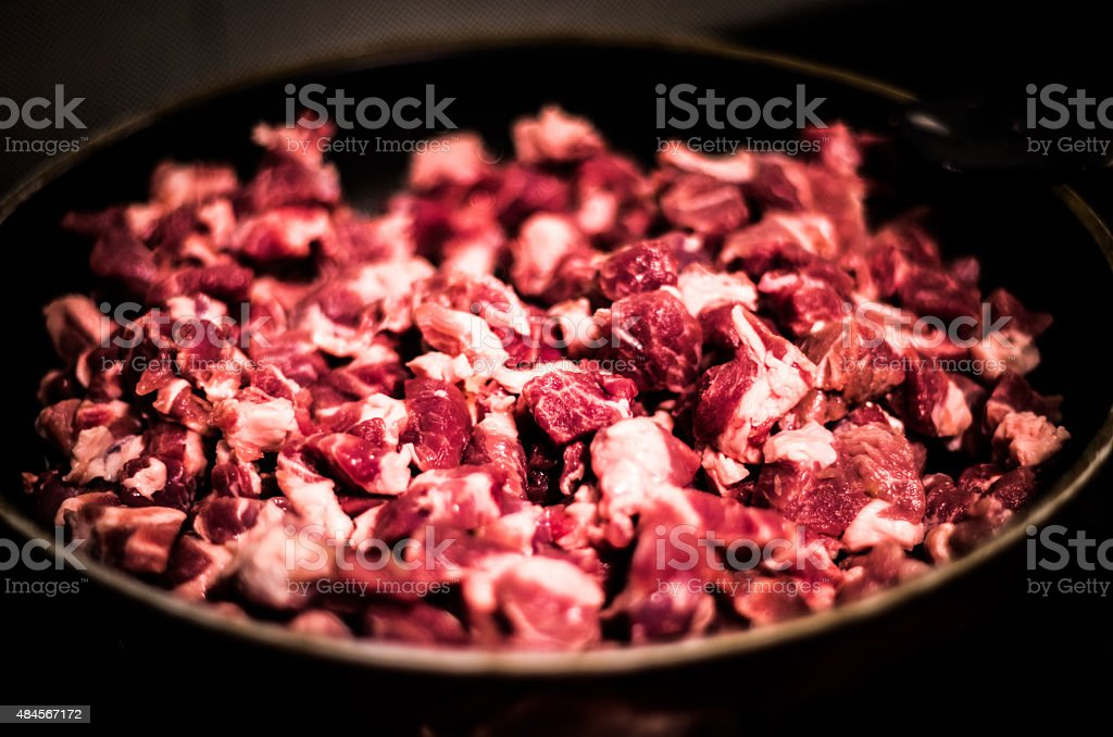 Bowl of raw meat. stock photo