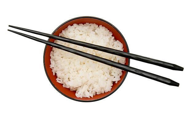 ボウルオブライス、箸 - ご飯茶碗 ストックフォトと画像