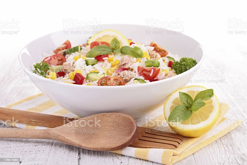 bowl of rice salad stock photo