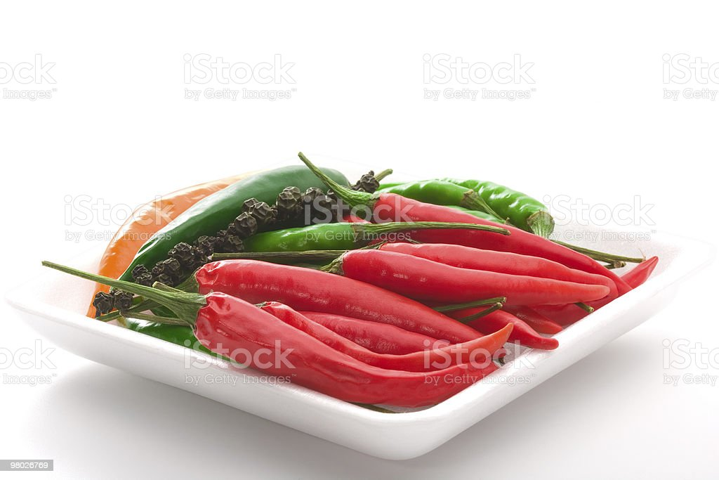 Bowl of ripe colorfull chili pepper royalty-free stock photo