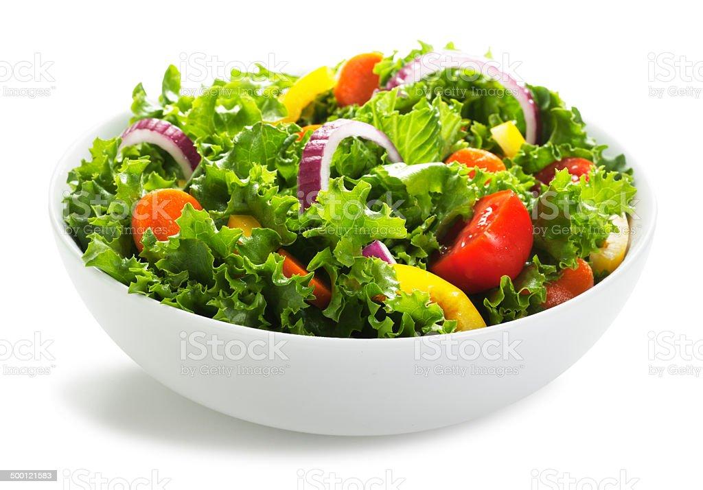 Bowl of Salad on White stock photo