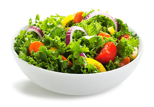 Bowl of Salad on White stock photo