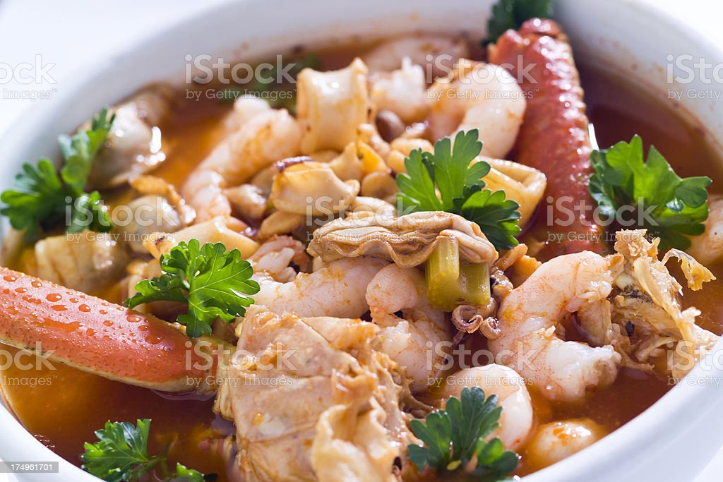 Bowl of Seafood Soup royalty-free stock photo