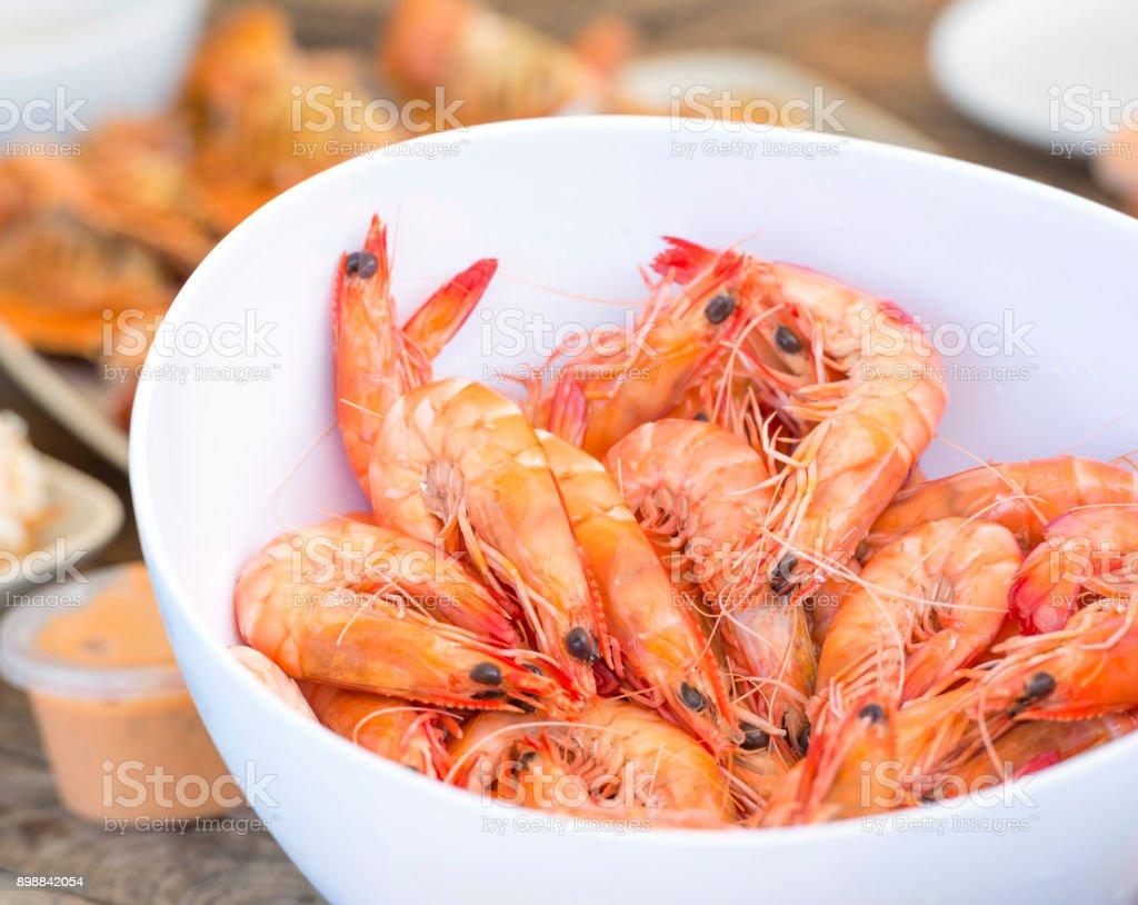 Bowl Of Shrimp stock photo