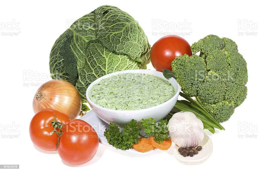 bowl of soup with vegetables royalty-free stock photo