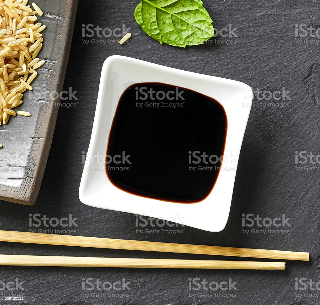bowl of soy sauce stock photo