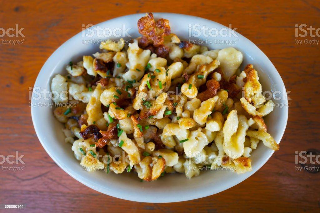 bowl of spaetzle stock photo