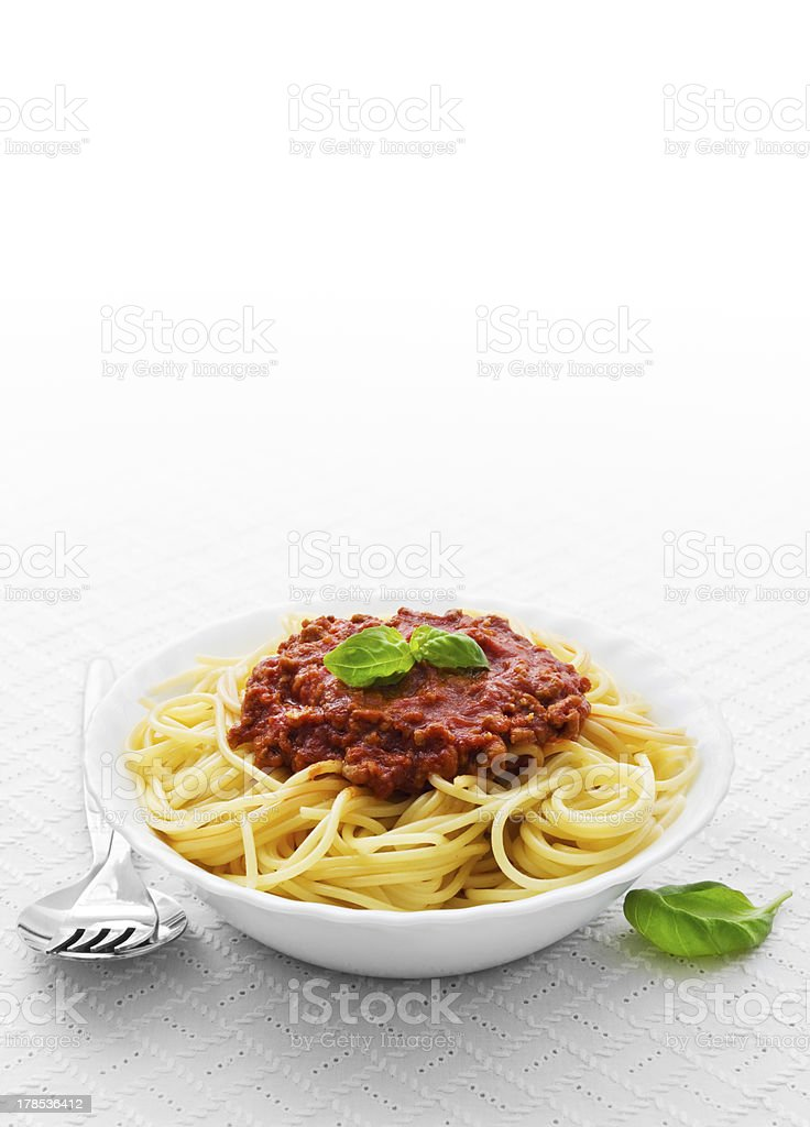Bowl of spaghetti bolognese stock photo