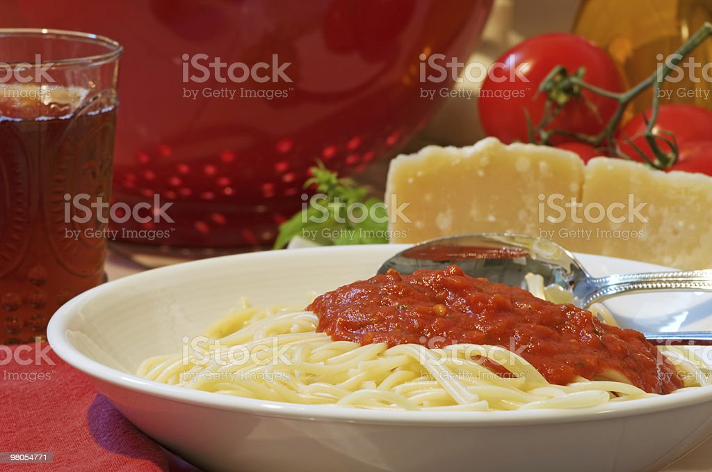 Bowl Of Spaghetti With Red Sauce royalty-free stock photo