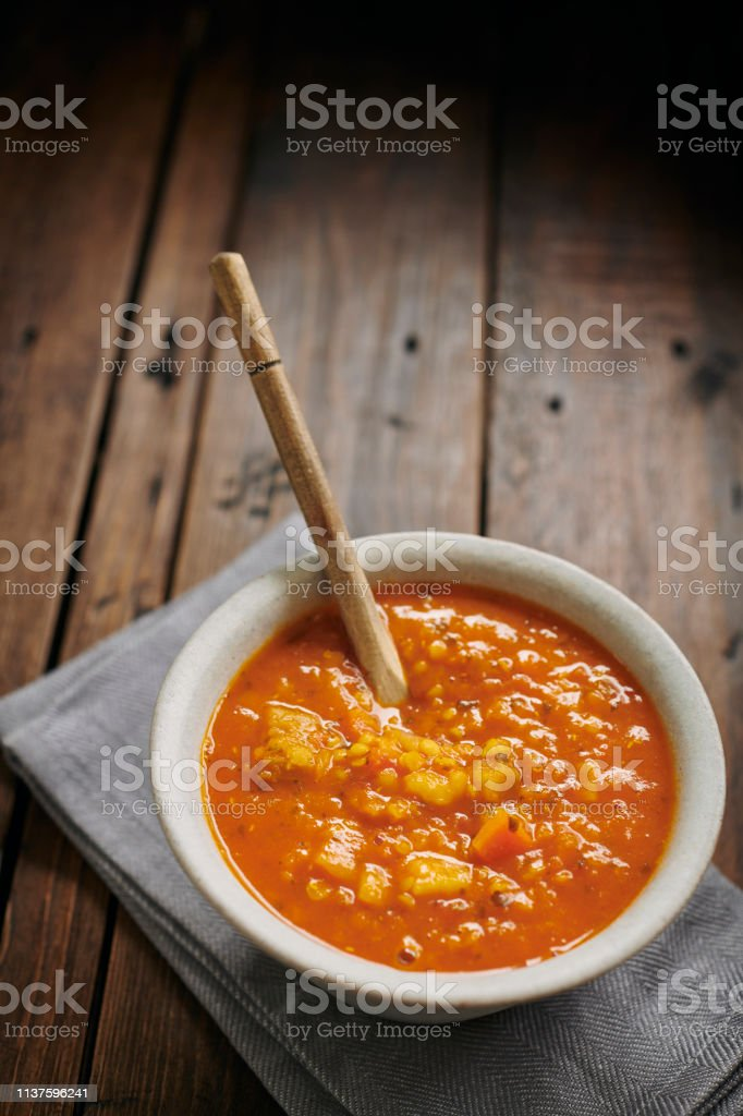 Bowl of Spicy Lentil Soup. stock photo