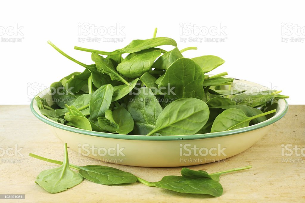 Bowl of Spinach Leaves royalty-free stock photo