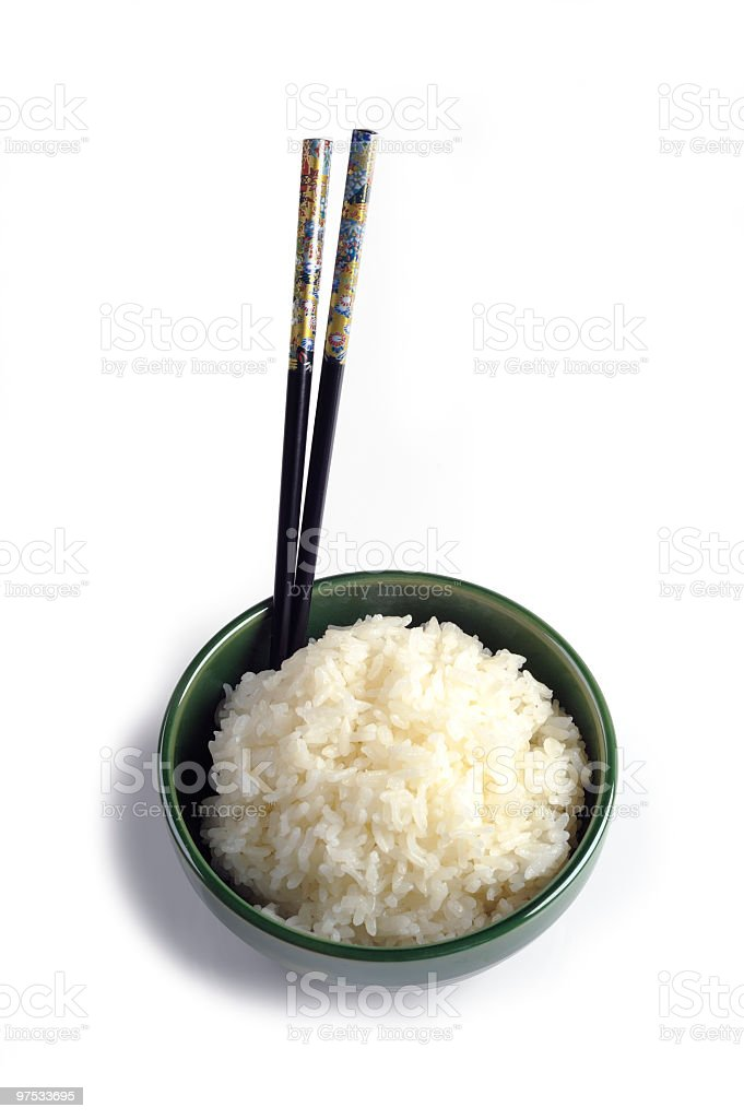 Bowl of Steamed  Rice royalty-free stock photo