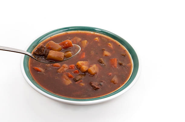 bowl of stew stock photo
